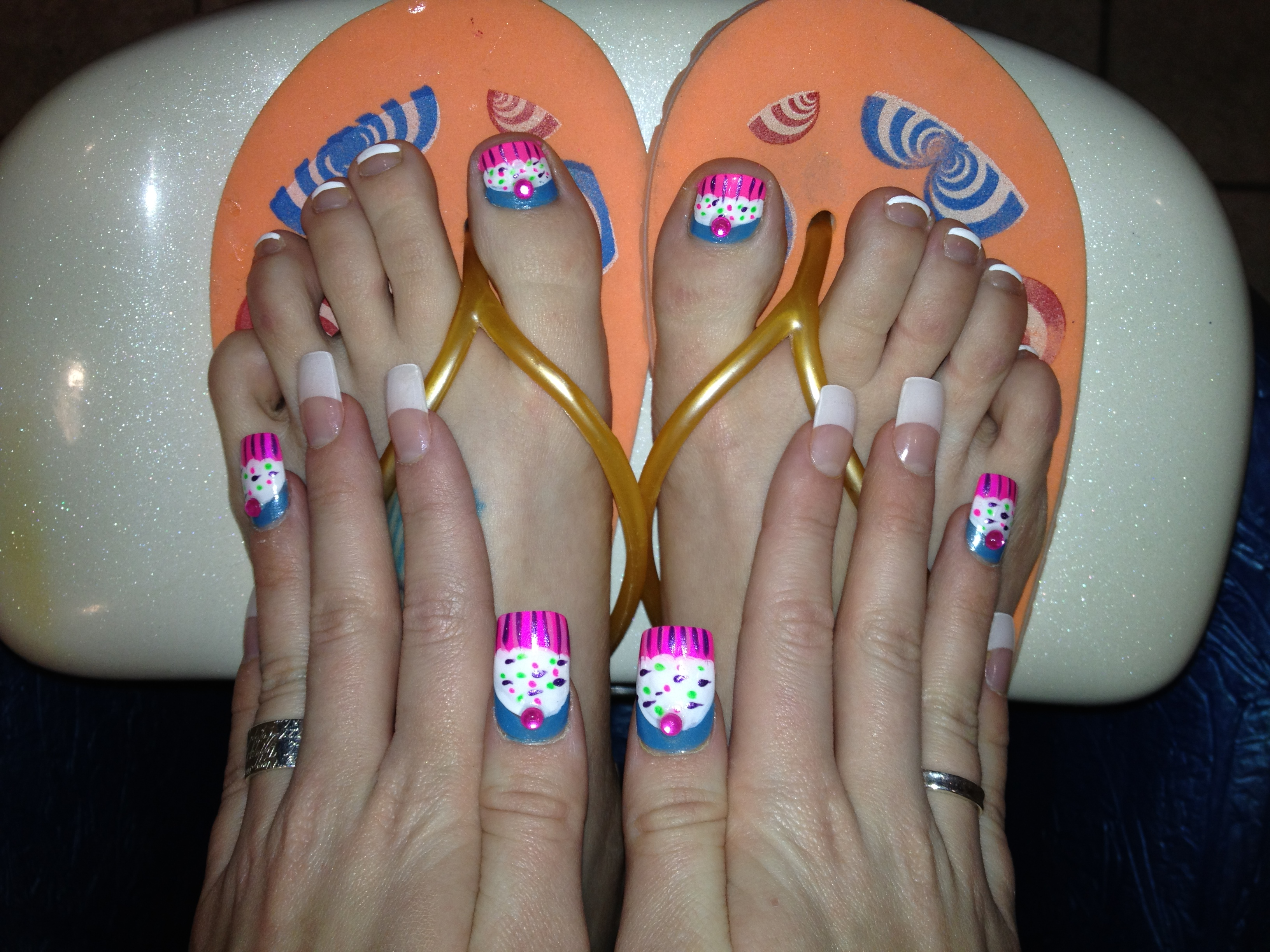 Cute Pinky Cupcake Nail Designs On French White Tips Acrylic Nails